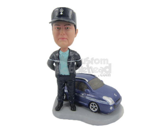 Custom Bobblehead Handsome Fella Wearing Jacket Standing With His Car - Motor Vehicles Cars, Trucks & Vans Personalized Bobblehead & Cake Topper