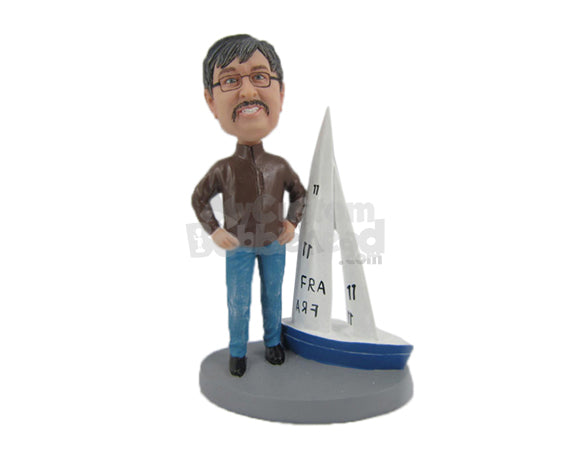 Custom Bobblehead Dude In Jacket And Jeans Standing With A Boat - Motor Vehicles Boats Personalized Bobblehead & Cake Topper