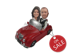 Custom Bobblehead Lovely Couple In Classic Convertible Car - Motor Vehicles Cars, Trucks & Vans Personalized Bobblehead & Cake Topper