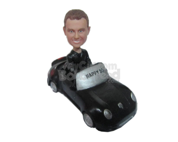 Custom Bobblehead Cool Dude Driving A Fast Convertible Car - Motor Vehicles Cars, Trucks & Vans Personalized Bobblehead & Cake Topper