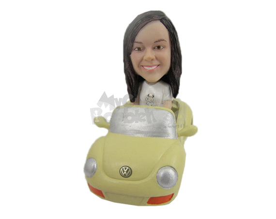 Custom Bobblehead Girl Driving An Expensive Convertible Car - Motor Vehicles Cars, Trucks & Vans Personalized Bobblehead & Cake Topper