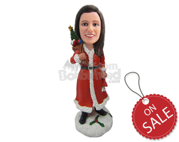 Custom Bobblehead Lovely Girl Wearing Santa Gown With A Bag Of Gifts Over Her Shoulder - Holidays & Festivities Christmas Personalized Bobblehead & Cake Topper