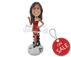 Custom Bobblehead Lady In Strapless Santa Dress And Long Socks Weaving Hello With One Leg In The Air - Holidays & Festivities Christmas Personalized Bobblehead & Cake Topper
