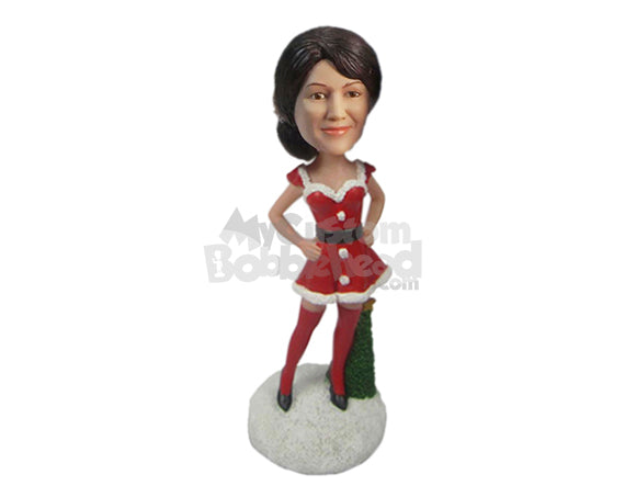 Custom Bobblehead Gorgeous Lady Wearing Santa Skirt With Long Socks Giving A Pose - Holidays & Festivities Christmas Personalized Bobblehead & Cake Topper
