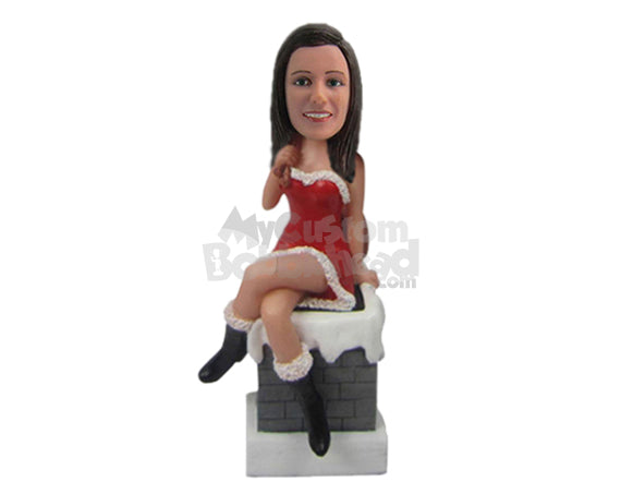 Custom Bobblehead Girl In Strapless Santa Claus Outfit Sitting On A Wall - Holidays & Festivities Christmas Personalized Bobblehead & Cake Topper