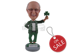 Custom Bobblehead Saint Patrick Irish Leprechaun Man Wearing Formal Irish Attire - Holidays & Festivities St. Patrick'S Personalized Bobblehead & Cake Topper
