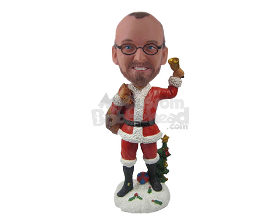 Custom Bobblehead Cool Dude Wearing Santa Claus Outfit Ready To Give Away Some Toys - Holidays & Festivities Christmas Personalized Bobblehead & Cake Topper
