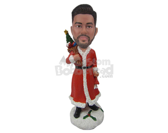 Custom Bobblehead Man In Christmas Attire Has A Bag Full Of Toys - Holidays & Festivities Christmas Personalized Bobblehead & Cake Topper
