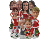 Custom Bobblehead Whole Family Celebrating Christmas In Christmas Outfit - Holidays & Festivities Christmas Personalized Bobblehead & Cake Topper