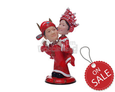 Custom Bobblehead Lovely Couple In Christmas Outfit - Holidays & Festivities Christmas Personalized Bobblehead & Cake Topper