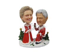 Custom Bobblehead Clinton Couple Wearing Santa Claus Outfit - Holidays & Festivities Christmas Personalized Bobblehead & Cake Topper
