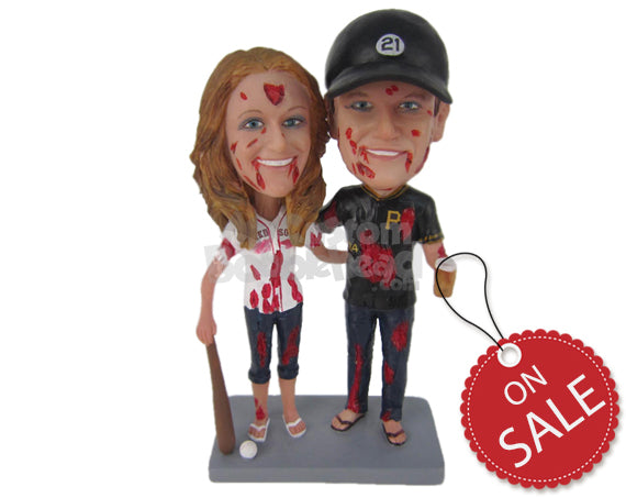 Custom Bobblehead Zombie Baseball Couple In Baseball Outfit - Holidays & Festivities Halloween Personalized Bobblehead & Cake Topper