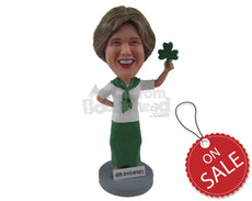 Custom Bobblehead Saint Patrick Irish Leprechaun Woman Wearing Formal Irish Attire - Holidays & Festivities St. Patrick'S Personalized Bobblehead & Cake Topper