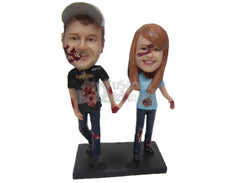 Custom Bobblehead Zombie Couple In Casual Outfit Holding Hands - Holidays & Festivities Halloween Personalized Bobblehead & Cake Topper