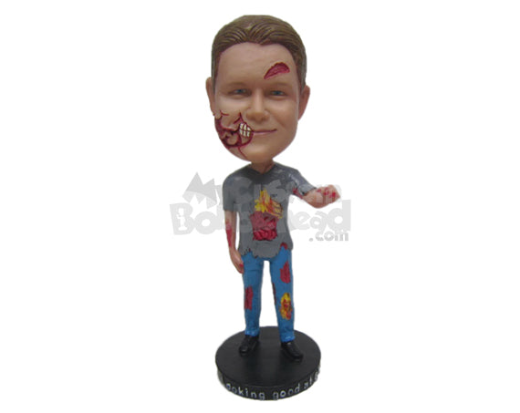 Custom Bobblehead Zombie Boy Wearing T-Shirt And Jeans Trying To Catch You - Holidays & Festivities Halloween Personalized Bobblehead & Cake Topper