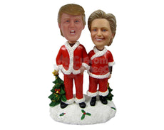 Custom Bobblehead Donald Trump And Hilary Clinton In Christmas Outfit - Holidays & Festivities Christmas Personalized Bobblehead & Cake Topper