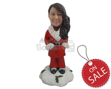 Custom Bobblehead Pretty Girl Wearing Santa Outfit - Holidays & Festivities Christmas Personalized Bobblehead & Cake Topper