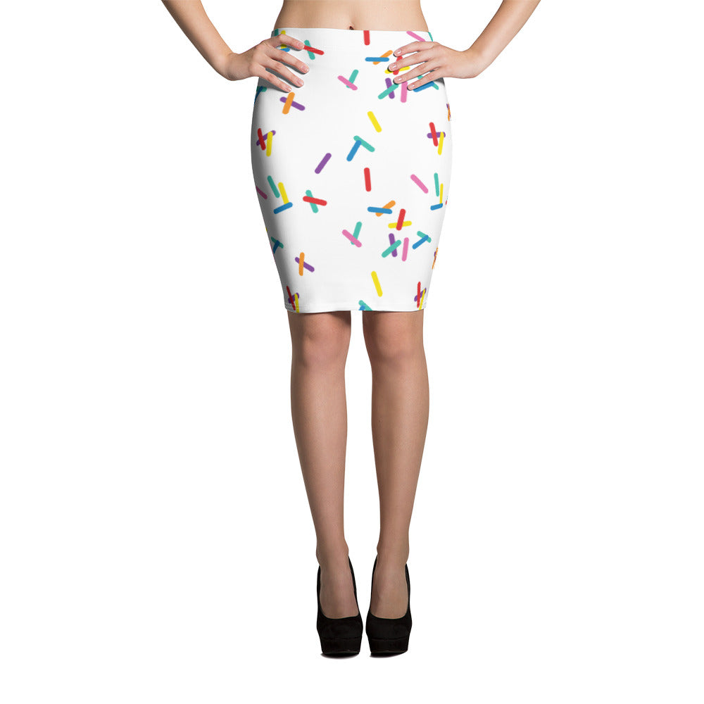 Vanilla with Sprinkles Pencil Skirt