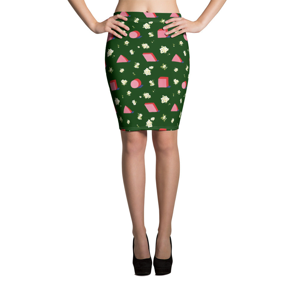 Floral Geometric Pencil Skirt