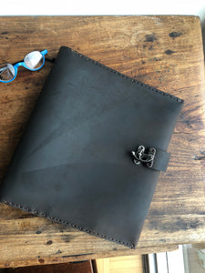 5 Pocket Binder / 8.5 x 11 Loose Leaf Binder / Handmade Leather 3 Ring Binder