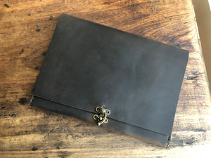 iPad pocket case, Tablet travel sleeve, Handmade leather iPad, Customizable