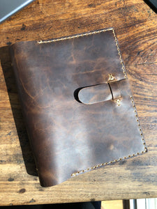 Mini ring binder, Small 3 ring notebook, 3 pocket leather binder, Customizable binders made by hand