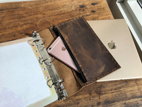 A5 planner, 3 ring binder, Leather a5 notebook, iPad mini pocket organizer