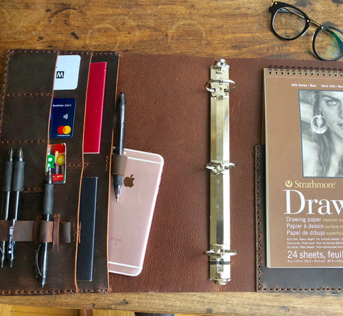 7 Pocket Binder / Leather Notebook binder / Legal Pad Holder/ 3 Ring Notebook Organizer