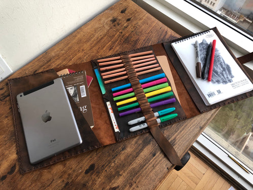 Leather Padfolio, Leather Sketchbook Holder and Pencil Case