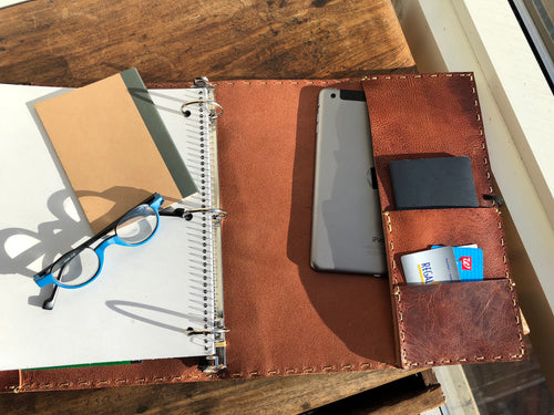 Pocket Binder / Leather Notebook Binder / 3 Ring Notebook Portfolio / Made in NYC