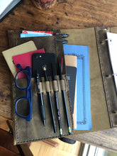 3 ring binder organizer, Office work pocket notebook, Leather 3 ring portfolio binder