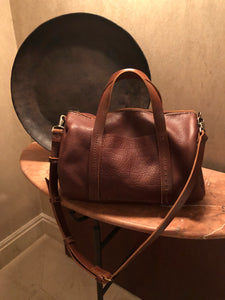 Mini Duffle / Crossbody Leather Duffle / Handmade leather travel bag / Made in New York
