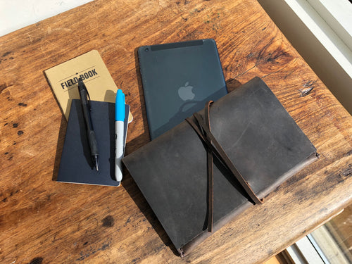 iPad mini case, Expresso leather tablet sleeve, Travel mini iPad clutch