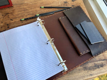 Handstitched binder, 3 ring notebook, Brown bridle leather pocket binder