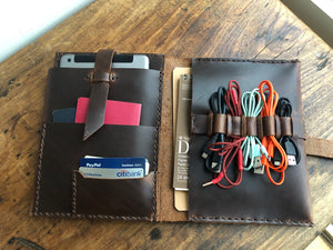 Cord Organizer / Travel Cable Holder / Mini Tablet Case / Leather Tablet Organizer