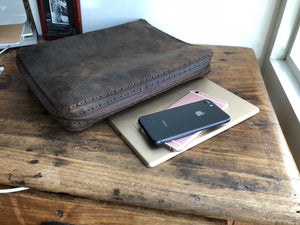 Custom Binder / Zippered Leather Organizer Binder / Portfolio Leather Binder with Zipper