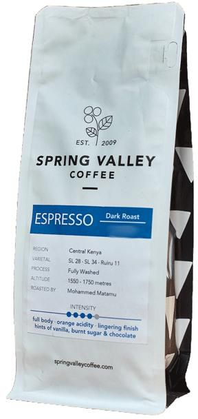 Spring Valley dark roast, fine grind 250g coffee -  Espresso