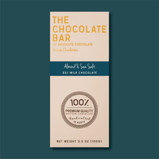 Absolute Chocolate - Almond & Sea Salt 33% Milk Chocolate 100g