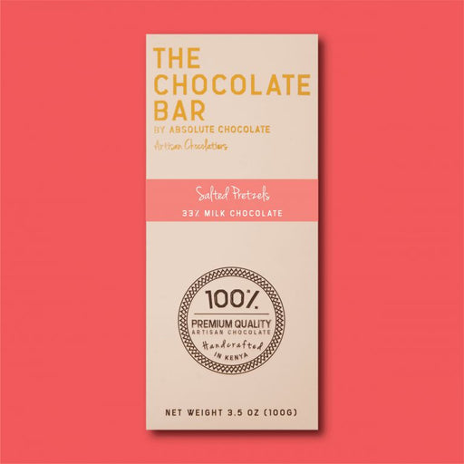 Absolute Chocolate - Salted Pretzels 33% Milk Chocolate 100g