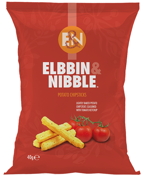 Elbbin & Nibble Lightly Baked Potato Chipsticks seasoned with Tomato Ketchup