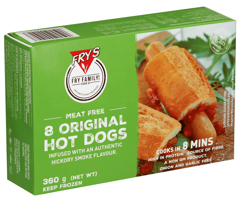 Fry's meat free 8 original hot dogs 360g