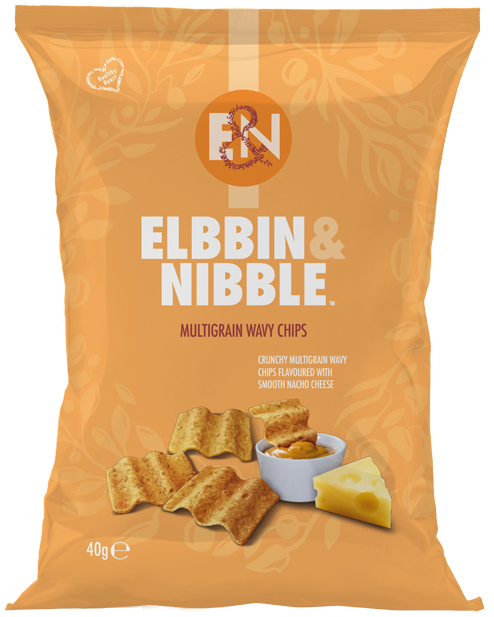 Elbbin & Nibble Multigrain Wavy Chips Flavoured with Smooth Nacho Cheese