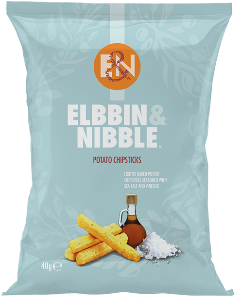 Elbbin & Nibble Lightly Baked Potato Chipsticks seasoned with Sea Salt & Vinegar