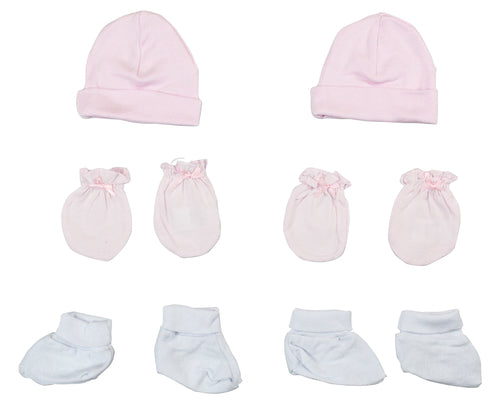 Girls' Cap, Booties and Mittens 6 Piece Layette