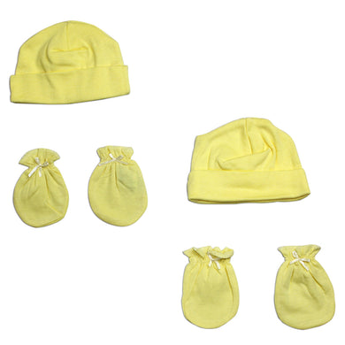 Neutral Baby Cap and Mittens 4 Piece Set
