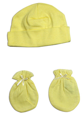 Neutral Baby Cap and Mittens 2 Piece Set