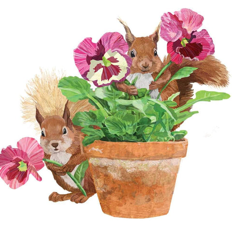 Flower Pot Squirrels Napkins
