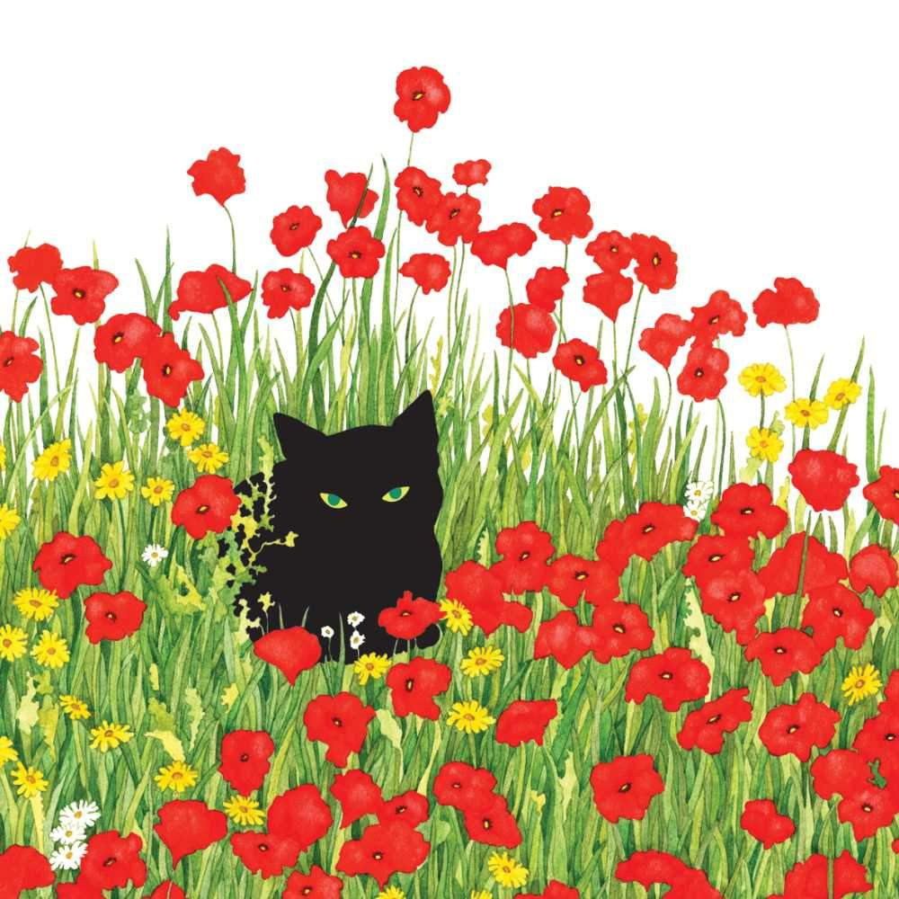 Black Cat Poppies Napkins