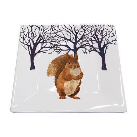 Winter Squirrel Square Plate
