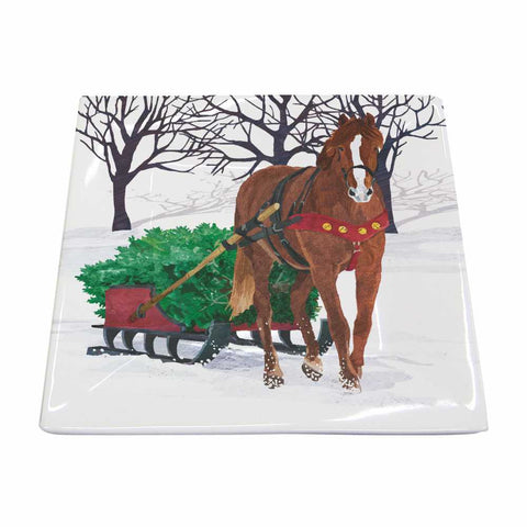 Winter Horse Sleigh Square Plate
